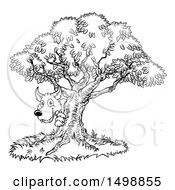 Clipart Of A Black And White Bad Wolf Peeking From Behind A Tree The Three Little Pigs Story Royalty Free Vector Illustration by AtStockIllustration