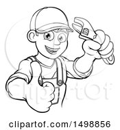 Black And White Cartoon Happy Male Plumber Holding An Adjustable Wrench And Giving A Thumb Up