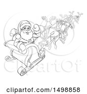 Black And White Santa Waving While Flying With Reindeer In His Sleigh