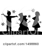 Clipart Of A Silhouetted Christmas Snowman With Children Royalty Free Vector Illustration by AtStockIllustration