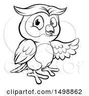Clipart Of A Black And White Owl Mascot Presenting Royalty Free Vector Illustration by AtStockIllustration