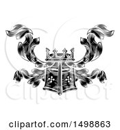 Clipart Of A Knights Great Helm Helmet And Foliage Crest Coat Of Arms Royalty Free Vector Illustration by AtStockIllustration