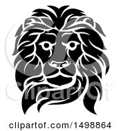 Clipart Of A Black And White Tough Male Lion Head Royalty Free Vector Illustration