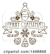 Merry Christmas Banner With Santa Holly Candy Canes And Baubles