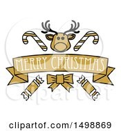 Clipart Of A Merry Christmas Banner With A Reindeer Crackers And Candy Canes Royalty Free Vector Illustration by AtStockIllustration