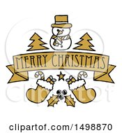 Clipart Of A Merry Christmas Banner With Holly Stockings Trees And A Snowman Royalty Free Vector Illustration by AtStockIllustration