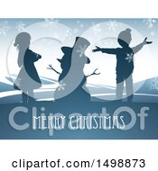 Clipart Of A Merry Christmas Greeting With Children And A Snowman Royalty Free Vector Illustration by AtStockIllustration