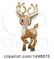 Clipart Of A Cute Red Nosed Christmas Reindeer Royalty Free Vector Illustration
