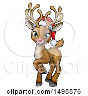 Clipart Of A Cute Red Nosed Christmas Reindeer Wearing A Santa Hat Royalty Free Vector Illustration by AtStockIllustration