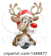 Clipart Of A Happy Red Nosed Reindeer Wearing A Santa Hat Royalty Free Vector Illustration