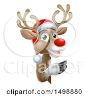 Clipart Of A Red Nosed Christmas Reindeer Looking Around A Sign Royalty Free Vector Illustration