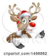Clipart Of A Red Nosed Christmas Reindeer Over A Sign Royalty Free Vector Illustration