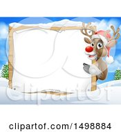 Red Nosed Christmas Reindeer With A Blank Sign In A Winter Landscape