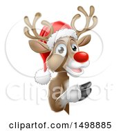 Red Nosed Reindeer Wearing A Christmas Santa Hat And Looking Around A Sign