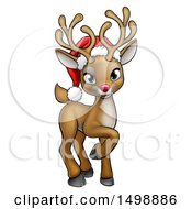Cute Red Nosed Reindeer Wearing A Christmas Santa Hat