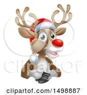 Happy Red Nosed Reindeer Wearing A Christmas Santa Hat