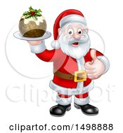 Clipart Of A Santa Claus Giving A Thumb Up And Holding A Christmas Pudding Royalty Free Vector Illustration by AtStockIllustration