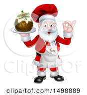 Clipart Of A Chef Santa Claus Holding A Christmas Pudding Dessert And Gesturing Perfect Royalty Free Vector Illustration by AtStockIllustration