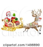Christmas Santa Claus In A Flying Magic Sleigh With A Reindeer