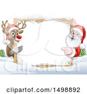 Christmas Santa Claus And Reindeer With A Blank Sign In A Snowy Landscape