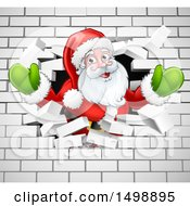 Christmas Santa Claus Breaking Through A White Brick Wall
