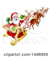Christmas Santa Claus In A Flying Magic Sleigh With Reindeer