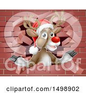 Clipart Of A Red Nosed Christmas Reindeer Breaking Through A Brick Wall Royalty Free Vector Illustration