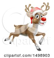 Clipart Of A Red Nosed Christmas Reindeer Running Or Flying Royalty Free Vector Illustration by AtStockIllustration