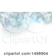 Clipart Of A Background Of Frosted Christmas Tree Branches And Snowflakes Royalty Free Vector Illustration