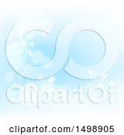 Clipart Of A Background Of Winter Snowflakes And Flares On Blue Royalty Free Vector Illustration by AtStockIllustration