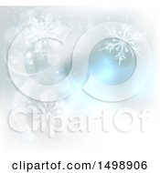 Clipart Of A Background Of Winter Snowflakes And Flares Royalty Free Vector Illustration
