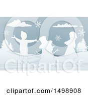 Clipart Of A Paper Art Styled Snowman And Children In The Snow Royalty Free Vector Illustration