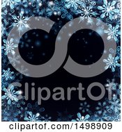 Clipart Of A Border Of Blue Snowflakes Over Black Royalty Free Vector Illustration by AtStockIllustration
