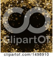 Clipart Of A Border Of Gold Snowflakes Over Black Royalty Free Vector Illustration