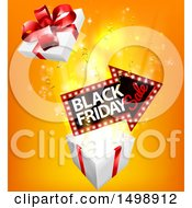 Clipart Of A 3d Arrow Marquee Sign With Black Friday Sale Text Over A Gift Box Royalty Free Vector Illustration by AtStockIllustration
