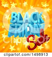 Clipart Of A 3d Black Friday Sale Design In Blue And Red Over A Star Burst Royalty Free Vector Illustration by AtStockIllustration