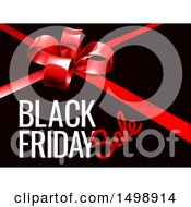 Clipart Of A Red Gift Bow And Black Friday Sale Text On Black Royalty Free Vector Illustration by AtStockIllustration