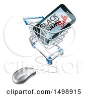 Clipart Of A Black Friday Sale Advertisement On A Smart Phone Screen In An Online Shopping Cart Royalty Free Vector Illustration by AtStockIllustration