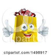 Clipart Of A Shopping Bag Mascot Full Of Christmas Gifts Royalty Free Vector Illustration by AtStockIllustration