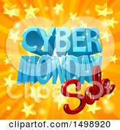 Clipart Of A 3d Cyber Monday Sale Design In Blue And Red Over A Star Burst Royalty Free Vector Illustration by AtStockIllustration
