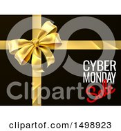 Clipart Of A Gold Gift Bow With Cyber Monday Sale Text On Black Royalty Free Vector Illustration by AtStockIllustration