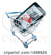 Clipart Of A 3d Smart Phone With Cyber Monday Sale Text On The Screen In A Shopping Cart Royalty Free Vector Illustration by AtStockIllustration