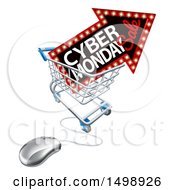Clipart Of A 3d Computer Mouse With A Marquee Arrow Sign With Cyber Monday Sale Text In A Shopping Cart Royalty Free Vector Illustration by AtStockIllustration
