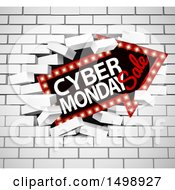 Clipart Of A 3d Marquee Arrow Sign With Cyber Monday Sale Text Breaking Through A White Brick Wall Royalty Free Vector Illustration by AtStockIllustration