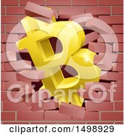 Clipart Of A 3d Gold Bitcoin Currency Symbol Breaking Through A Brick Wall Royalty Free Vector Illustration by AtStockIllustration