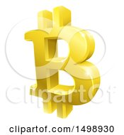 Clipart Of A 3d Gold Bitcoin Currency Symbol Royalty Free Vector Illustration