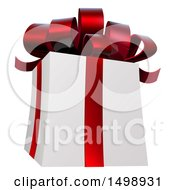 Clipart Of A 3d White Christmas Gift Present With A Red Bow And Ribbons Royalty Free Vector Illustration by AtStockIllustration