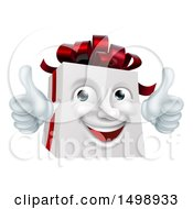 Clipart Of A 3d Christmas Gift Present Character Giving Two Thumbs Up Royalty Free Vector Illustration
