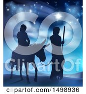 Clipart Of Virgin Mary On A Donkey And Joseph Silhouetted Under The Star Of David Royalty Free Vector Illustration by AtStockIllustration