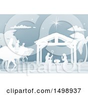 Clipart Of A Paper Art Styled Nativity Scene With The Wise Men And Manger Royalty Free Vector Illustration